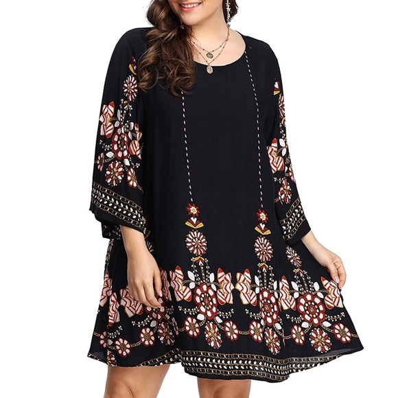 Plus Size Boho print Swing Babydoll Dress, 0-3X Boutique